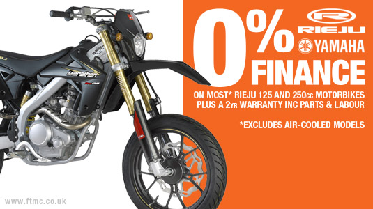 0% finance deals available on most Rieju motorcycles