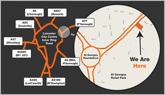 Map from Leicester City Centre