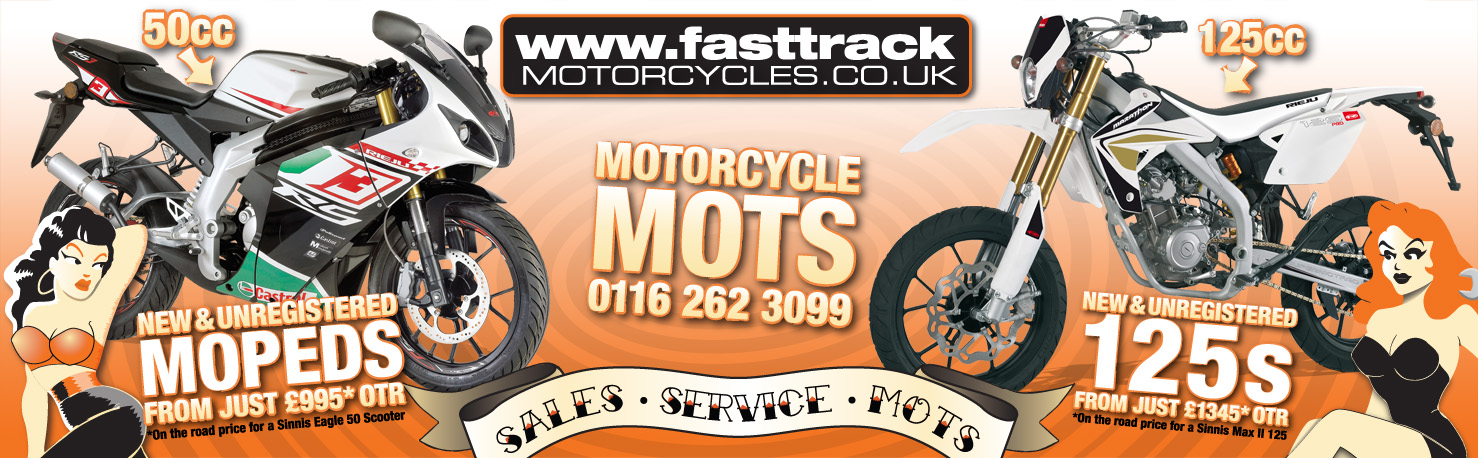 advert featuring a learner legal 125 and moped from Fasttrack Motorcycles