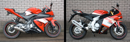 Yamaha YZFR-125 and Rieju RS3 125
